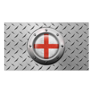 Industrial English Flag with Steel Graphic Business Cards