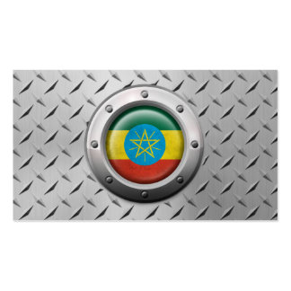 Industrial Ethiopian Flag with Steel Graphic Business Card