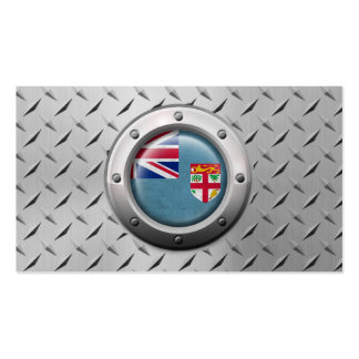 Industrial Fiji Flag with Steel Graphic Pack Of Standard Business Cards