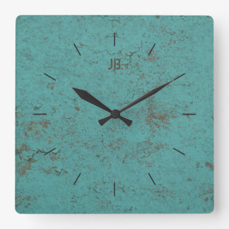 INDUSTRIAL   Flaky blue paint plus lettering Square Wall Clock