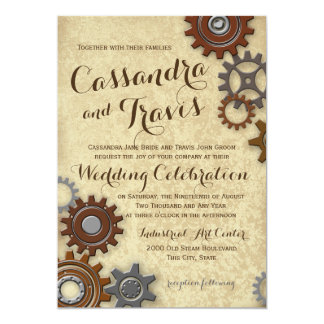 "Industrial Gears Rustic Wedding 5"" X 7"" Invitation Card"