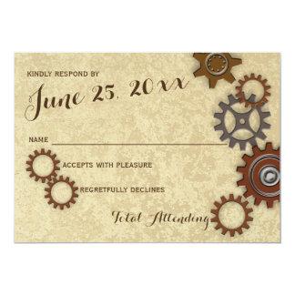 "Industrial Gears Rustic Wedding Response 5"" X 7"" Invitation Card"