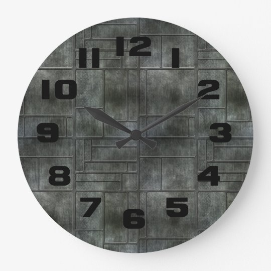 Industrial Grey Metal Large Clock