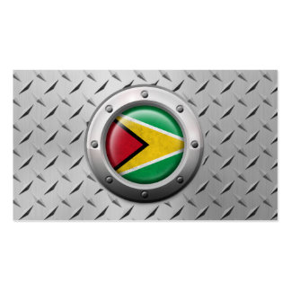 Industrial Guyana Flag with Steel Graphic Pack Of Standard Business Cards