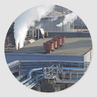Industrial infrastructure, buildings and pipeline classic round sticker