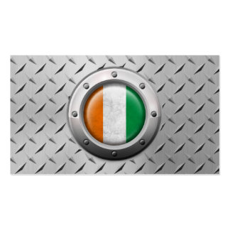 Industrial Ivory Coast Flag with Steel Graphic Pack Of Standard Business Cards