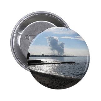 Industrial landscape along the coast 2 inch round button
