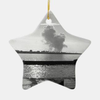 Industrial landscape along the coast ceramic ornament