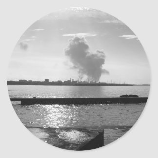 Industrial landscape along the coast classic round sticker