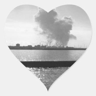 Industrial landscape along the coast heart sticker