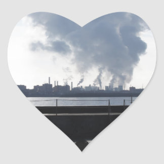 Industrial landscape along the coast heart sticker