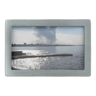 Industrial landscape along the coast rectangular belt buckle