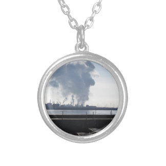 Industrial landscape along the coast silver plated necklace