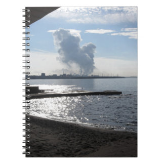 Industrial landscape along the coast spiral notebook