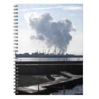 Industrial landscape along the coast spiral notebook