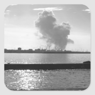 Industrial landscape along the coast square sticker