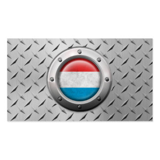 Industrial Luxembourg Flag with Steel Graphic Pack Of Standard Business Cards