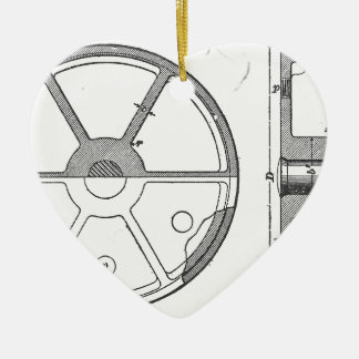 Industrial Mechanical Gears Ephemera Print Ceramic Heart Ornament