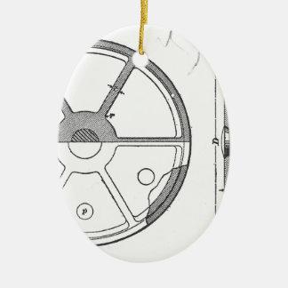 Industrial Mechanical Gears Ephemera Print Ceramic Oval Ornament