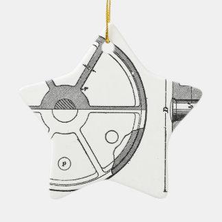 Industrial Mechanical Gears Ephemera Print Ceramic Star Ornament