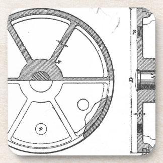 Industrial Mechanical Gears Ephemera Print Coaster