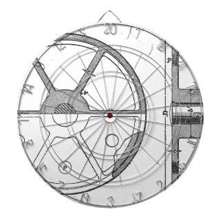 Industrial Mechanical Gears Ephemera Print Dartboard
