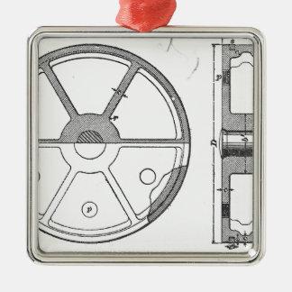 Industrial Mechanical Gears Ephemera Print Metal Ornament