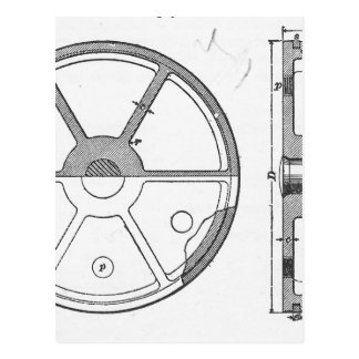 Industrial Mechanical Gears Ephemera Print Postcard