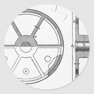 Industrial Mechanical Gears Ephemera Print Round Sticker