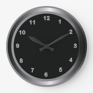 Industrial Metal Steel and Black Print Large Clock