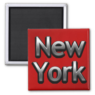 Industrial New York - On Red Square Magnet