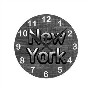 Industrial New York - On Urban Grey Round Clock