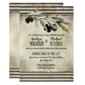 Industrial Olive Leaf Wreath Watercolor Typography Card
