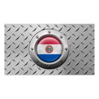 Industrial Paraguay Flag with Steel Graphic Pack Of Standard Business Cards