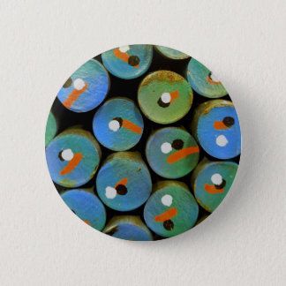 Industrial peacock 2 inch round button