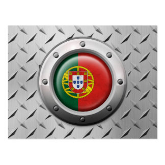 Industrial Portuguese Flag with Steel Graphic Post Card