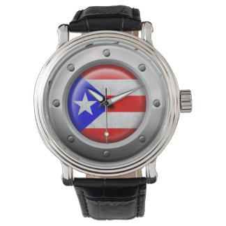 Industrial Puerto Rican Flag Steel Graphic Watch