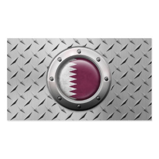 Industrial Qatari Flag with Steel Graphic Business Card Templates
