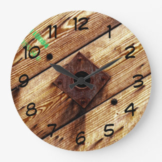 Industrial Rustic Wood Large Clock
