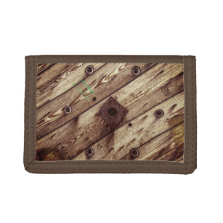 Industrial Rustic Wood Trifold Wallets
