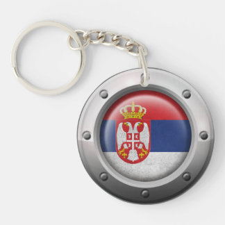 Industrial Serbian Flag with Steel Graphic Keychain