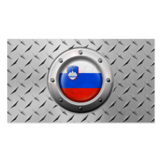 Industrial Slovenian Flag with Steel Graphic Business Card Templates
