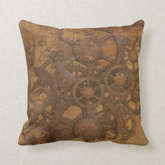 Industrial steampunk theme throw pillow