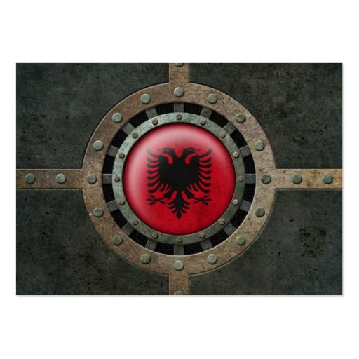 Industrial Steel Albanian Flag Disc Graphic Business Card Templates