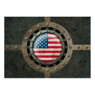 Industrial Steel American Flag Disc Graphic Business Card