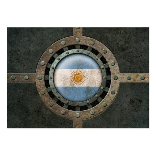 Industrial Steel Argentinian Flag Disc Graphic Business Card Template