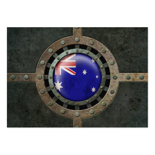 Industrial Steel Australian Flag Disc Graphic Business Card
