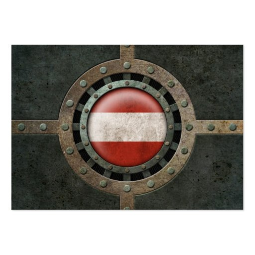 Industrial Steel Austrian Flag Disc Graphic Business Card