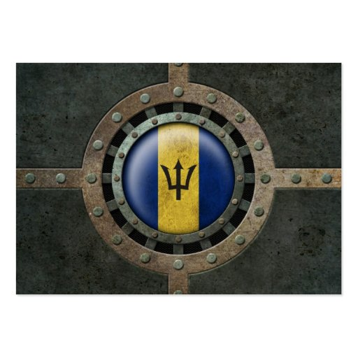 Industrial Steel Barbados Flag Disc Graphic Business Cards