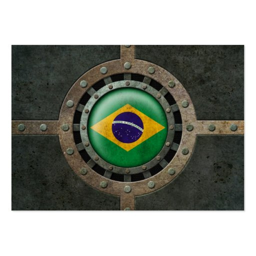 Industrial Steel Brazilian Flag Disc Graphic Business Card Template